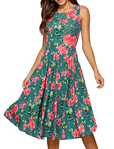 Simple Flavor Women's Vintage Dress Sleeveless O-Neck Party Cocktail Dress (3170Green, L)