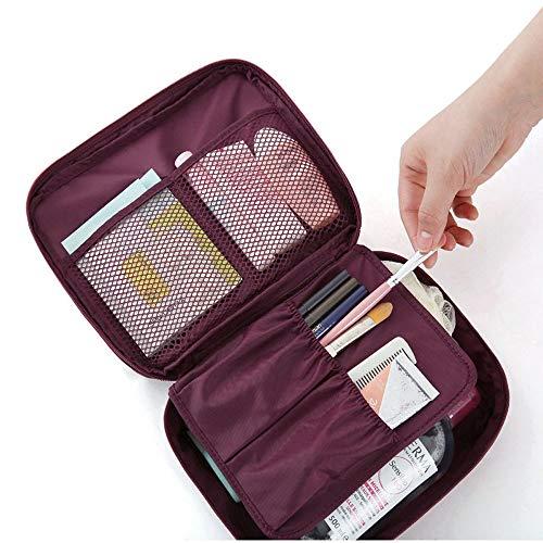 HUKZ Reise Kosmetik Make-up Kulturbeutel Tasche Wash Organizer Storage Pouch Handtasche(Größe: 220 x 180 x 9 mm) (Rot)