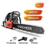COOCHEER Chainsaw 58CC 20' Powerful Gas Chainsaw 2 Stroke Handed Petrol Chain Saw Woodcutting Saw...