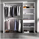 HABITMOBEL Vestidor Perchero Blanco con Tres baldas+ Cajon, Medidas: Alto: 187 cm x Fondo: 40 cm x Ancho: 160 cm