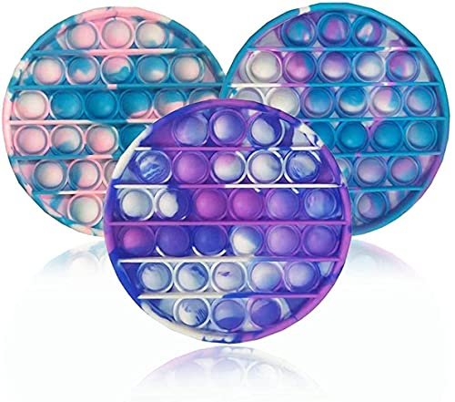 NUENUN 3PCS Silicone Tie-dye Push pop Bubble Fidget Toy, Autism Special Needs Stress Reliever, Squeeze Sensory Tools to Relieve Emotional Stress for Kids Adults (Style 2)