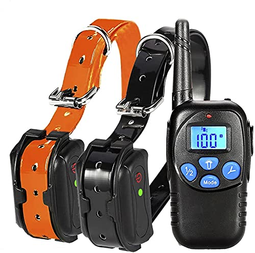 Fettish Dog Training Collar Rechargeable & Waterproof Electric Remote Dog Shock Collar with LED Light Beep Vibration Safety Shock Modes for Small/Medium/Large Training Collars