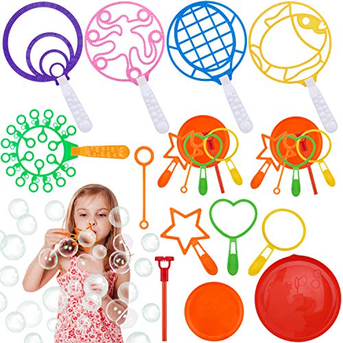 GINMIC Bubble Wands Set Colorful Bubble Wands Toys Large Bubble Wands for Kids Toddlers Giant Bubbles Wands for Outdoor Activity Birthday amp Wedding Party Favors Games