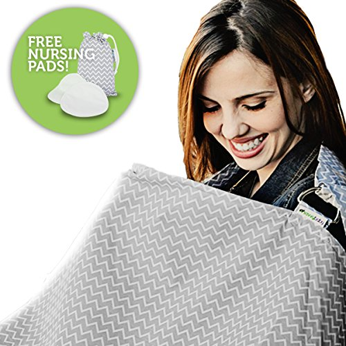 Nursing Cover, Breastfeeding Cover - Universal Fit Chevron - Free Reusable Cotton Nursing Pads (2 Pack) & Storage Pouch - Hooter Hider Privacy Cover - Best Unisex Baby Shower Gift for Girls & Boys