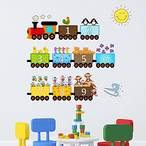 Colorful 9 Number Wall Decals, Creative Figures Sitting in The Train Wall Stickers, Interesting Early Education Digitals Wallpaper, Removable DIY Art Mural for Kids Bedroom, Nursery, Classroom