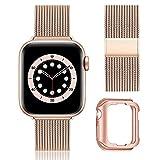 BesBand Pulsera de metal compatible con Apple Watch 40 mm, 44 mm, 42 mm, 38 mm, correa de repuesto de malla ajustable, para iWatch SE Series /6/5/4/3 (38 mm, 40 mm, oro rosa)