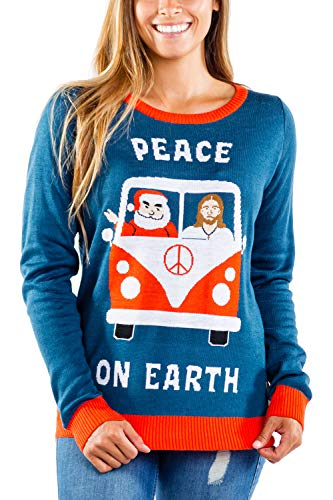 Women's Peace on Earth Sweater - Funny Santa Christmas Sweater: L Navy Blue