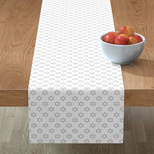 Roostery Tablerunner, Star David Israel Jewish Silver White Hanukkah Print, Cotton Sateen Table Runner, 16in x 108in