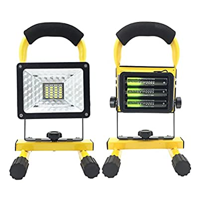 Spotlights Work Lights Outdoor Flood Lights Camping Lights, Built-in Rechargeable Lithium Batteries 2400 Lumens (Emergency SOS Mode) [30W]