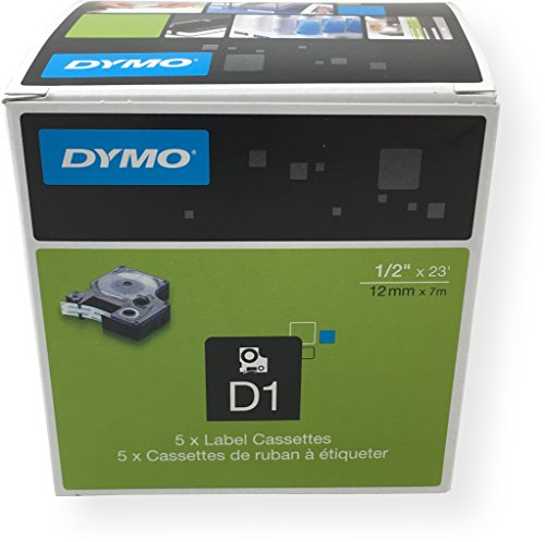 DYMO Standard D1 labeling tape for Labe lManager Label Makers, Black print on Clear tape, 1/2' W x 23' L, 1 Cartridge (45010) 5 PACK