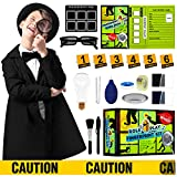 Spy Kit for Kids Detective Fingerprint Role Play Costume Set Dress Up Spy Glasses Educational Science Experiments with Finger Print Identification Set Boys Girls Birthday Gifts