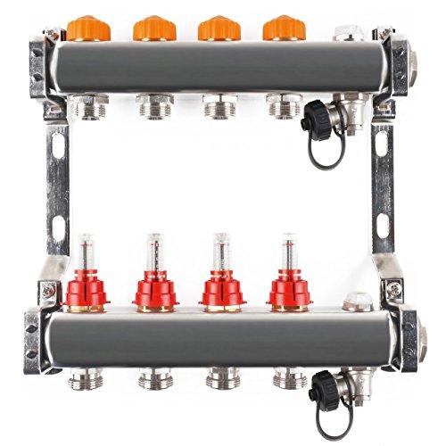 Edelstahlverteiler mit automatischem Abgleich 4 Heizkreise