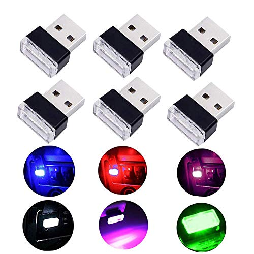 Auto USB Beleuchtung - WENTS 6PCS Auto Innenbeleuchtung Atmosphäre Licht Mini Wireless USB Universal LED Licht - Mehrere Farben