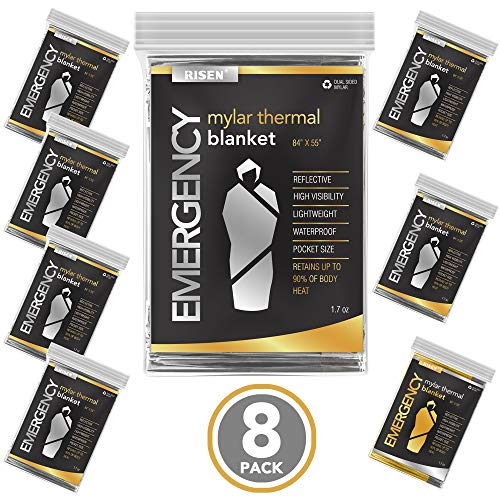 RISEN Emergency Foil Mylar Thermal Blankets - Retains 90% of Body Heat, High Reflective Space Safety Blanket - Ideal Supply for Survival, Outdoors, Camping, Hiking, Marathons or First Aid