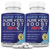 Rapid Fast Pure Keto Boost Max 1200MG Keto Pills Advanced BHB Ketogenic Supplement Exogenous Ketones Ketosis for Men Women 60 Capsules 2 Bottles 60 Day Supply