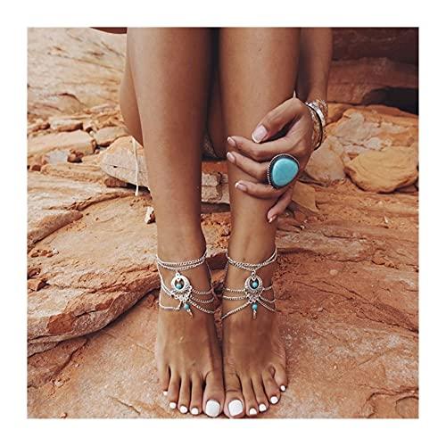 HETHYAN Tobillera con cadena de pie, para verano, con diseño de piedra azul hueca, para pies descalzos, joyería nupcial (color de metal: estilo B)