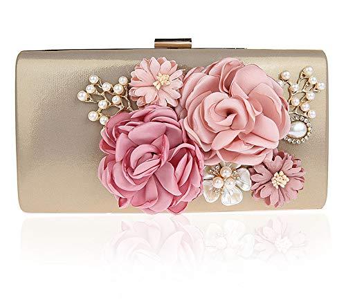 Hava Kolari Frauen Blume Kupplungen Abendtaschen Handtaschen Clutch, Kettentasche Umhängetaschen mit Perle Perlen,für Prom Weihnachtsfeier Hochzeit Braut (Gold)