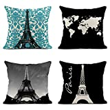 Tarolo Decorative Linen Throw Pillow Covers Cases Set of 4 Teal Vintage French Floral Swirls Home Decor White World Map Eiffel Tower City of Love Paris Pillow Cover Case 16x16 inches