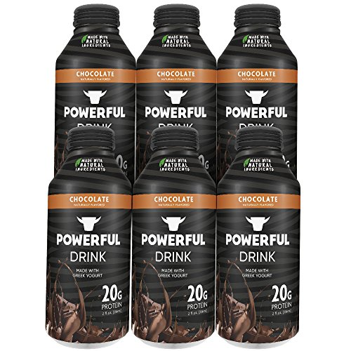 Powerful Drink  Protein Shake, Meal Replacement Shake, Greek Yogurt, Gluten Free, Ready to Drink, 20g Protein, Chocolate, 6 Pack