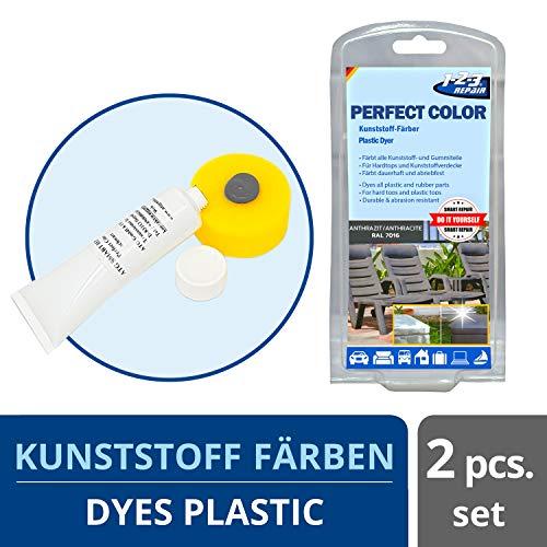 Perfect-Color Kunststoff Aufbereitung - Polyrattan Gartenmöbel Camping Anthrazit mit Schwamm