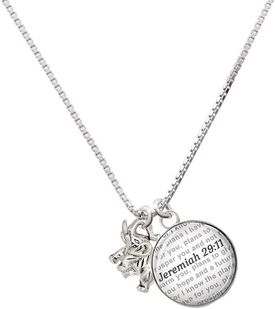 Delight Jewelry Silvertone Mini 3-D Elephant Bible Verse Jeremiah 29:11 Glass Dome Necklace 18+2