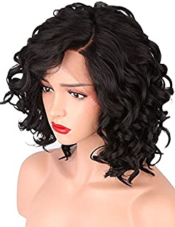Lace Wigs Short Body Wave Synthetic Lace Front Wigs for Women L Part Shaped with Natural Hairline Jet Black Color