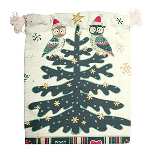YxueSond Weihnachtstasche aus Segeltuch mit doppeltem Kordelzug für Hochzeit, Geburtstag, Party, 6 Stück, weiß, 20*25cm