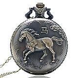 J-Love Bronze Vintage Zodiac Pferd Quarz Taschenuhr Halskette Anhänger Anhänger Uhren für Männer Frauen Beste Geburtstagsgeschenk für Kinder