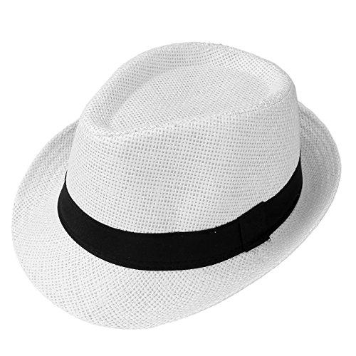 FALETO Sombrero de sol sólido Trilby de paja vintage para hombre