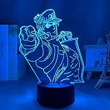 3D Light Anime JoJo Bizarre Adventure Jotaro Kujo for Bedroom Decor Light Birthday Gift for Him JoJo Led Lamp Manga -Remote Control