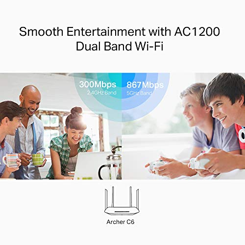 TP-Link Archer C6 Dualband Gigabit WLAN-Router (867Mbit/s 5GHz + 300Mbit/s 2,4GHz, 4 Gigabit LAN-Port, Mu-MIMO, IPTV, VPN, 4 externe Antennen) schwarz