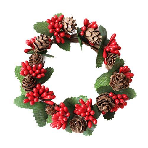 Garneck 2 Stück Beerenkranz Weihnachtskranz mit Tannenzapfen Blätter Rote Beere Haustür Kranz Girlande Kerzenring für Party Hochzeit Wohnkultur