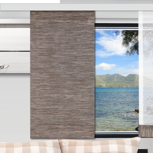 SeGaTeX home fashion Caravan-Flächenvorhang Marian 30cm breit | Höhe 60 –120cm nach Maß | braun Flächengardine für Caravan Wohnwagen Wohnmobil