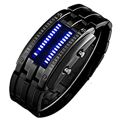 Wrist Watches Men's LED Digital Watch Fashion Classic Waterproof Stainless Steel Watches Black (Black)