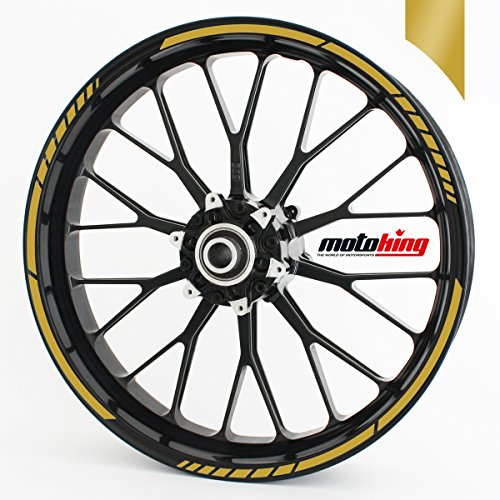 Felgenrandaufkleber GP im GP-Design passend für 19 Zoll Felgen für Motorrad, Auto & mehr - Gold matt