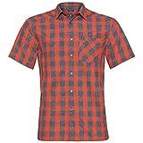 Odlo Mythen Camisa de Manga Corta para Hombre, Rojo Mandarina-Gris-Cuadros, Medium