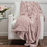 The Connecticut Home Company Soft Faux Fur with Sherpa Bed Throw Blanket, Many Colors, Fluffy Large Luxury Reversible Blankets, Fuzzy Washable Throws for Couch, Beds for Mothers Day, 65x50, Dusty Rose