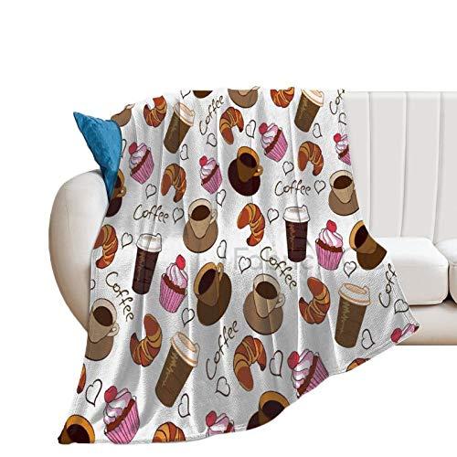 Pościel polarowy koc, 152 cm x 203 cm narzuta na łóżko, kubki do kawy na wynos i słodycze wiśnia babeczka croissant amerykańska kultura śniadanie koc na łóżko puszysty miękki koc mikrofibra