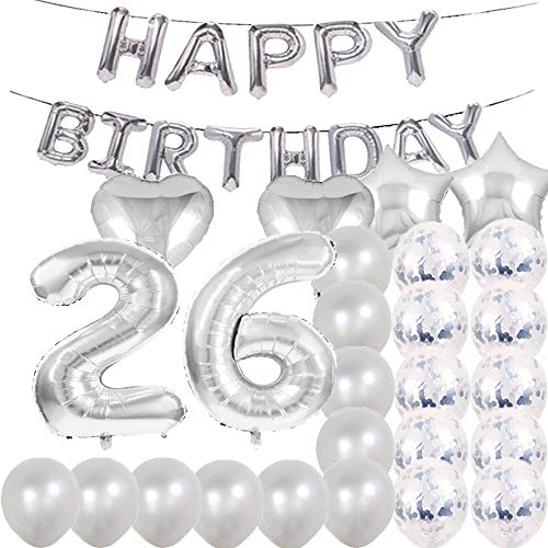 Sweet 26th Birthday Decorations Party Supplies,Silver Number 26 Balloons,26th Foil Mylar Balloons Latex Balloon Decoration,Great 26th Birthday Gifts for Girls,Women,Men,Photo Props