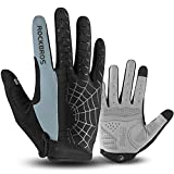 ROCKBROS Cycling Gloves for Men Mountain Bike Gloves Bicycle Gloves SBR Pad Anti-Slip Road Riding Gloves for Spring, Autumn Breathable Sports Gloves