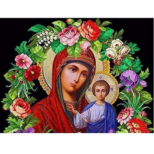 Diy Diamante Pintura Religiosa Virgen Maria Diamante Bordado Mosaico Costura Flores Completo Cuadrado Redondo Taladro Decoración De La Pared-60x80cm