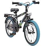 BIKESTAR Kinderfahrrad 16 Zoll für Jungen und Mädchen ab 4-5 Jahre | 16er Kinderrad Modern | Fahrrad für Kinder Schwarz & Blau | Risikofrei Testen