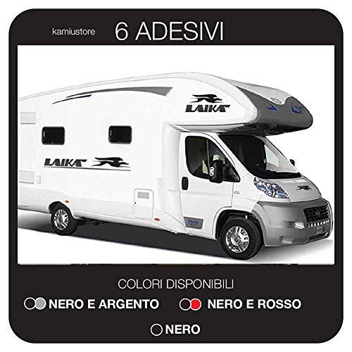 kamiustore Adesivo Laika Set per Camper, roulotte, furgoni Van e Barche in Vinile per Esterni - 6 Adesivi 115x16cm (Nero)