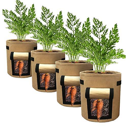 IWTTWY Pflanzensäcke für Gemüse, Blumen, Kräuter, Kartoffeln, Tomaten, Karotten, 4 Stück