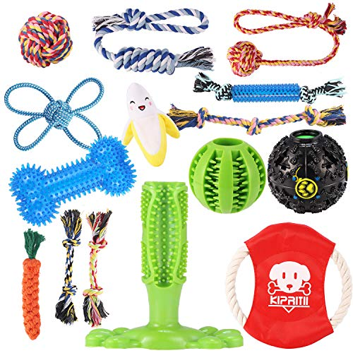 KIPRITII Dog Chew Toys for Aggressive Chewers - 15 Pack Teething Chew Toys for...