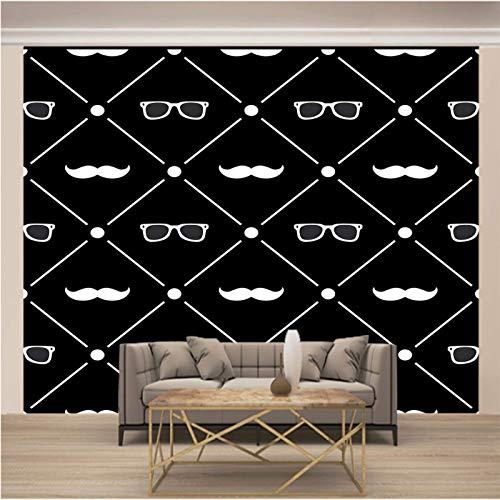 Msrahves fotomurales decorativos pared Blanco y negro simple gafas de sol barba. 3D Fotomural Papel Pintado No Tejido Wallpaper TV murales papel para pared foto decorativo XXL Papel pintado tejido no