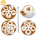Coffee Decoration Stencils, Moyisea Latte Art Stencils, 16 Pack Coffee Art Template with 1 Latte Art Pen, Reusable Barista Set Coffee Mold Tool for Coffee,Oatmeal,Cake,Cappuccino,Cookie,Hot Chocolate