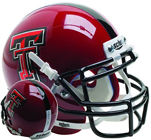 Schutt NCAA Texas Tech Red Raiders Mini Authentic XP Fußballhelm, Unisex, NCAA Texas Tech Red Raiders Mini Authentic XP Football Helmet, Red Guns Up Alt. 14, Mini