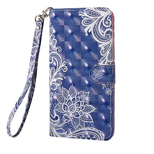 Thoankj für Huawei Y6 2019/Huawei Y6S/Honor 8A Hülle Flip Stoßfest 3D PU Leder Notebook Wallet Case mit Ständer Magnet Geld Tasche Folio TPU Bumper Gel Schutzhülle Handyhülle