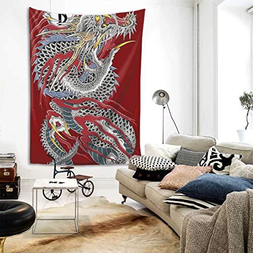 Emonye Wandteppich Viciony Yakuza Drache Tattoo 152,4 x 203,2 cm Home Decor Art Tapisserie für Schlafzimmer Wohnzimmer Wohnheim Wohnung